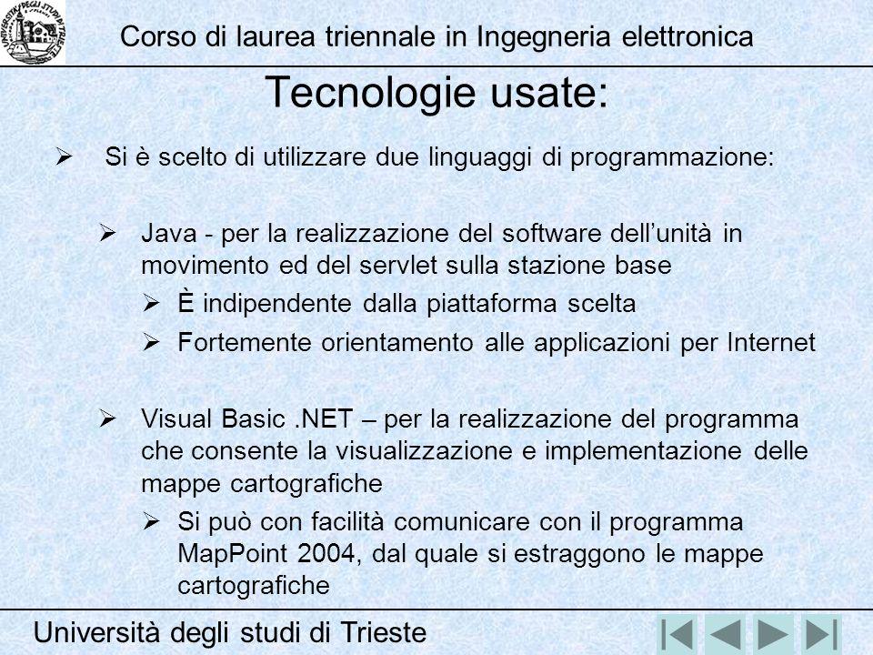 Tecnologie usate: Si è scelto di utilizzare due linguaggi di programmazione: Java - per la realizzazione del software dellunità in movimento ed del se