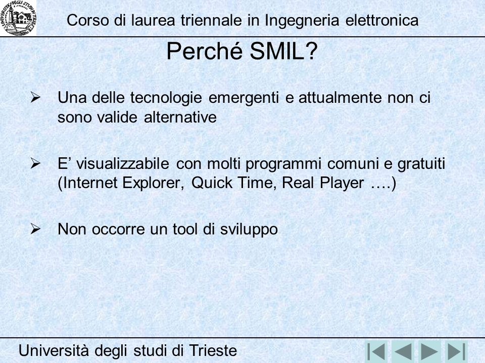 Perché SMIL? Una delle tecnologie emergenti e attualmente non ci sono valide alternative E visualizzabile con molti programmi comuni e gratuiti (Inter