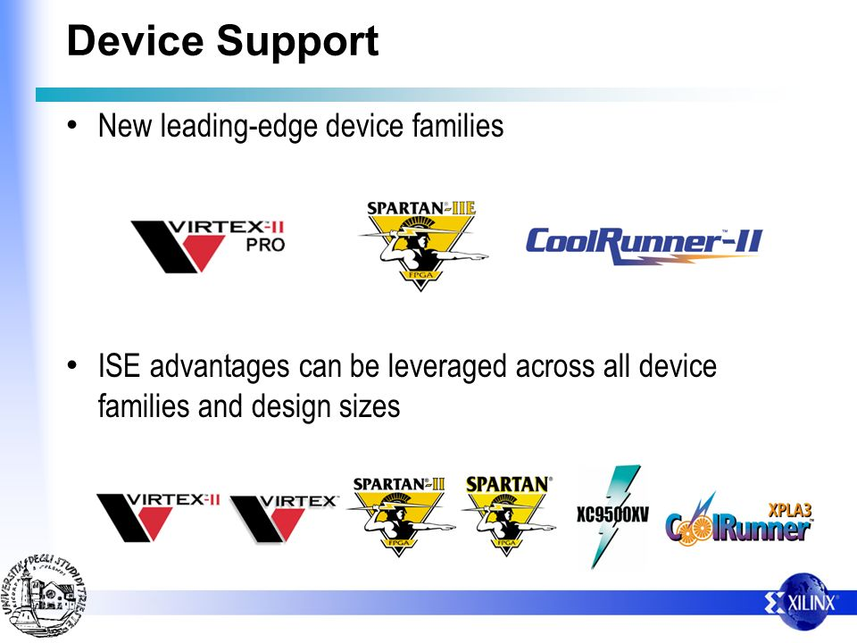 Device Support New leading-edge device families ISE advantages can be leveraged across all device families and design sizes