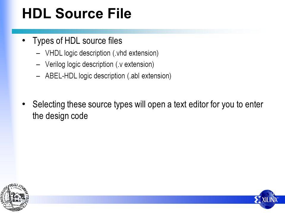 HDL Source File Types of HDL source files – VHDL logic description (.vhd extension) – Verilog logic description (.v extension) – ABEL-HDL logic descri