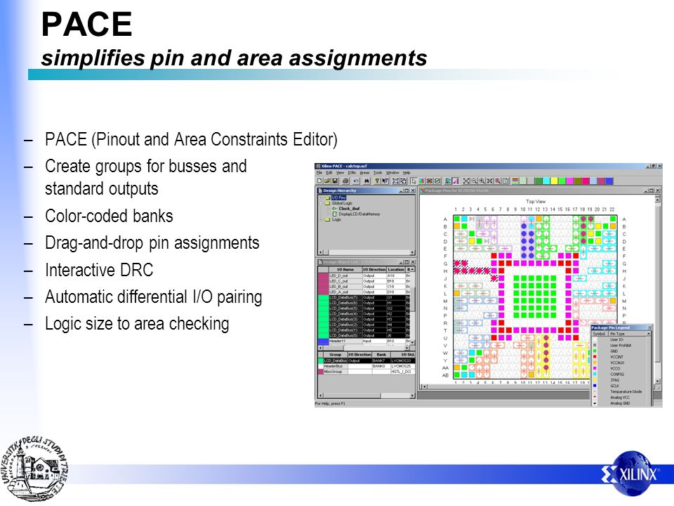 PACE simplifies pin and area assignments – PACE (Pinout and Area Constraints Editor) – Create groups for busses and standard outputs – Color-coded ban
