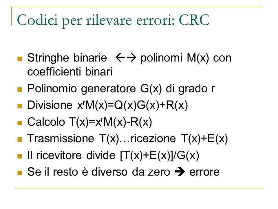 Codici per rilevare errori: CRC Stringhe binarie polinomi M(x) con coefficienti binari Polinomio generatore G(x) di grado r Divisione x r M(x)=Q(x)G(x