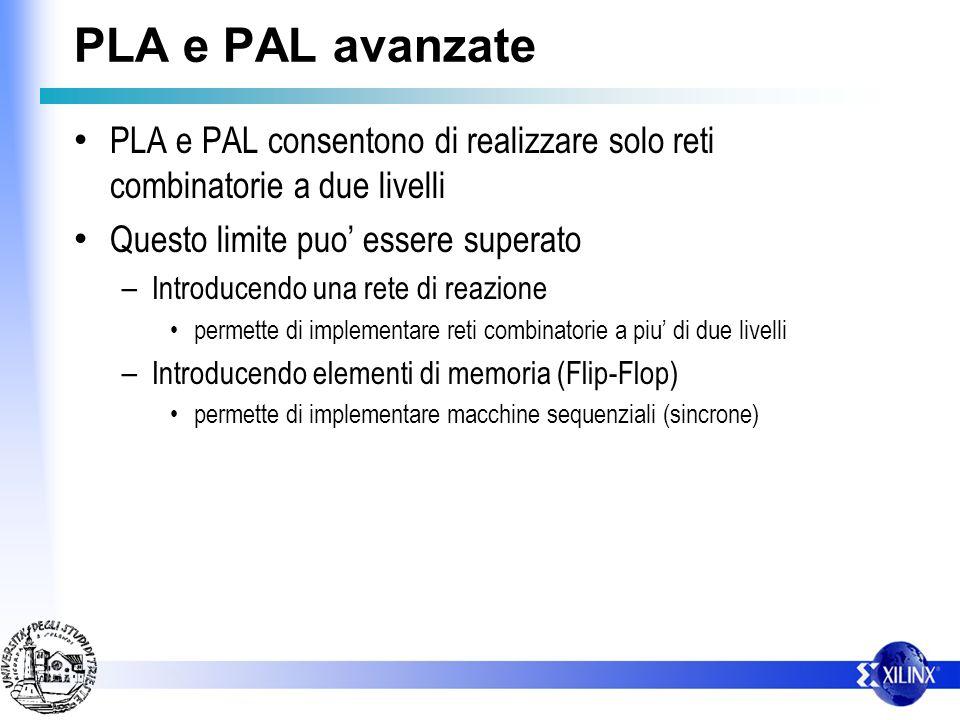 PLA e PAL avanzate PLA e PAL consentono di realizzare solo reti combinatorie a due livelli Questo limite puo essere superato – Introducendo una rete di reazione permette di implementare reti combinatorie a piu di due livelli – Introducendo elementi di memoria (Flip-Flop) permette di implementare macchine sequenziali (sincrone)