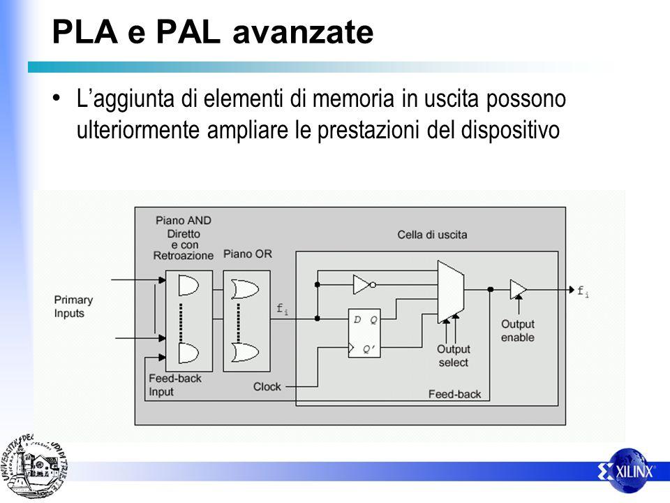 PLA e PAL avanzate Laggiunta di elementi di memoria in uscita possono ulteriormente ampliare le prestazioni del dispositivo