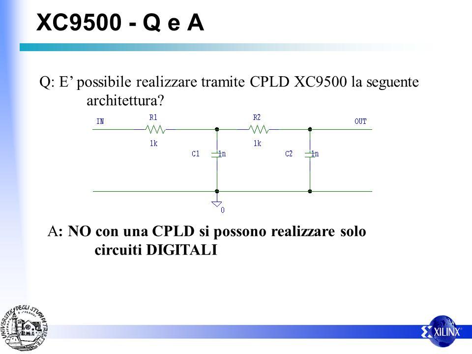 XC9500 - Q e A Q: E possibile realizzare tramite CPLD XC9500 la seguente architettura? A: NO con una CPLD si possono realizzare solo circuiti DIGITALI
