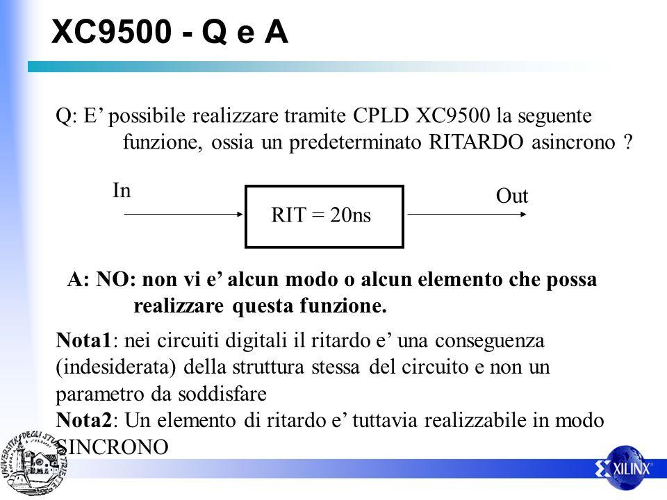 XC9500 - Q e A Q: E possibile realizzare tramite CPLD XC9500 la seguente funzione, ossia un predeterminato RITARDO asincrono ? RIT = 20ns In Out A: NO