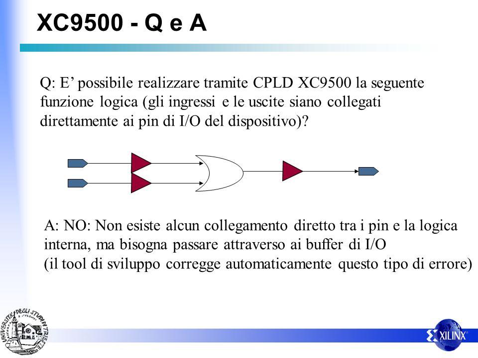 XC9500 - Q e A Q: E possibile realizzare tramite CPLD XC9500 la seguente funzione logica (gli ingressi e le uscite siano collegati direttamente ai pin di I/O del dispositivo).