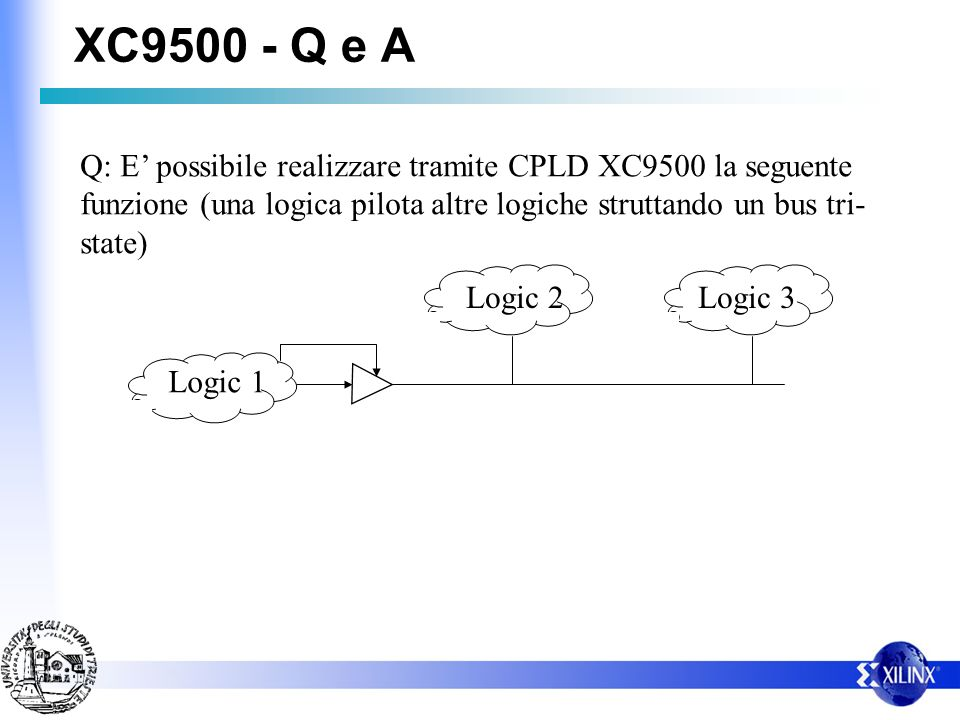 XC9500 - Q e A Q: E possibile realizzare tramite CPLD XC9500 la seguente funzione (una logica pilota altre logiche struttando un bus tri- state) Logic 1 Logic 2Logic 3