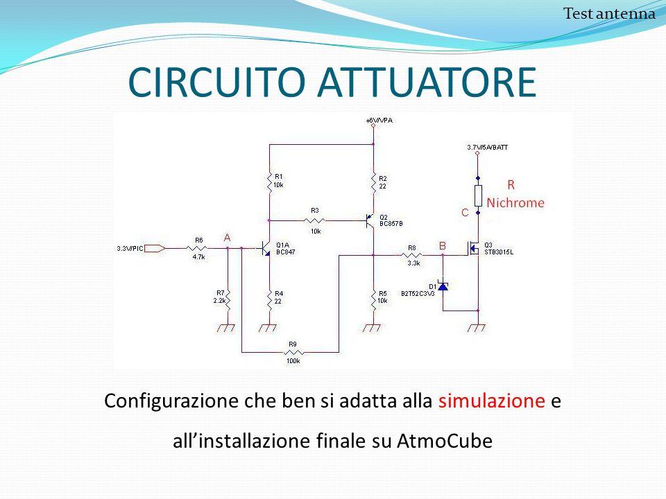CIRCUITO ATTUATORE Configurazione che ben si adatta alla simulazione e allinstallazione finale su AtmoCube Test antenna