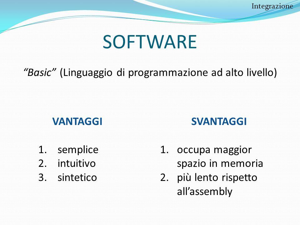 SOFTWARE Basic (Linguaggio di programmazione ad alto livello) VANTAGGI 1. semplice 2. intuitivo 3. sintetico SVANTAGGI 1.occupa maggior spazio in memo