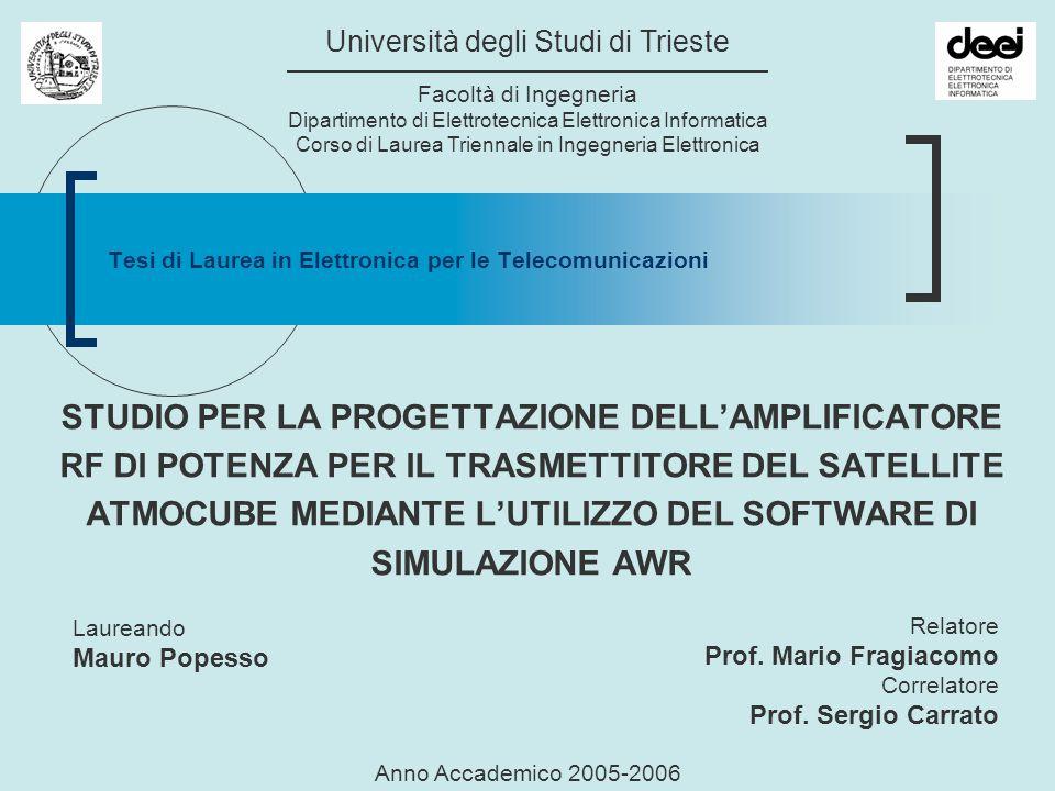 Trieste, 11.12.2006Mauro Popesso2 Il Satellite AtmoCube Misure Spettro radiazione solare Intensità campo magnetico terrestre Frequenza TX in UHF (437.49 MHz) Potenza irradiata > 1 W Aumentata a 2 W in via cautelativa