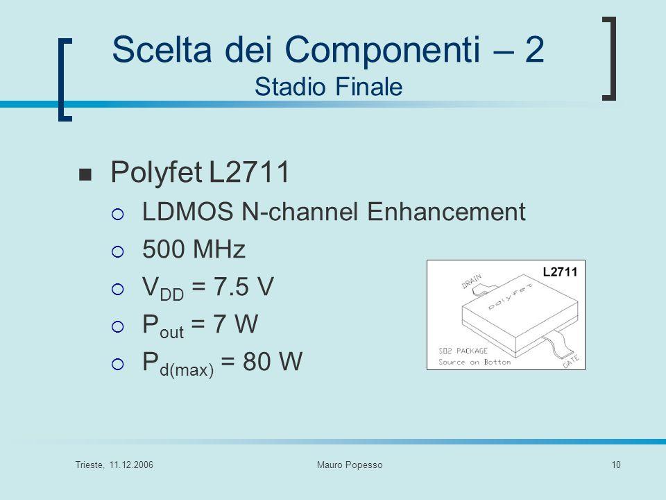 Trieste, 11.12.2006Mauro Popesso10 Scelta dei Componenti – 2 Stadio Finale Polyfet L2711 LDMOS N-channel Enhancement 500 MHz V DD = 7.5 V P out = 7 W