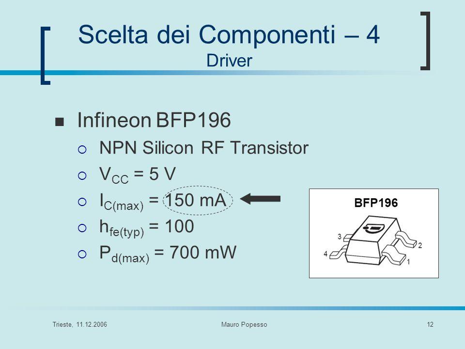 Trieste, 11.12.2006Mauro Popesso12 Scelta dei Componenti – 4 Driver Infineon BFP196 NPN Silicon RF Transistor V CC = 5 V I C(max) = 150 mA h fe(typ) =