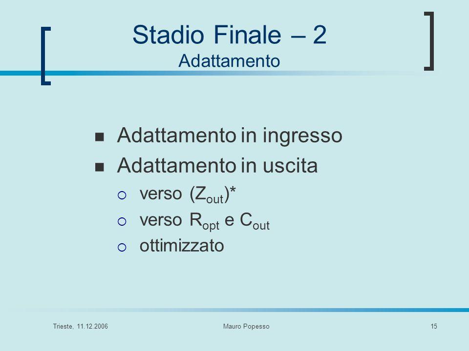 Trieste, 11.12.2006Mauro Popesso15 Adattamento in ingresso Adattamento in uscita verso (Z out )* verso R opt e C out ottimizzato Stadio Finale – 2 Ada