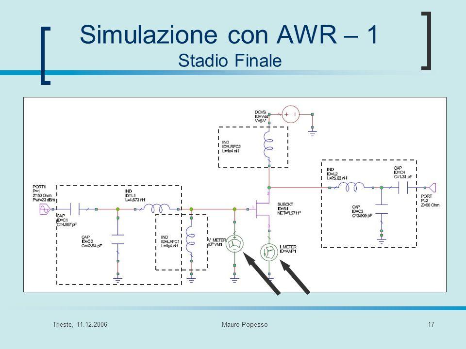 Trieste, 11.12.2006Mauro Popesso17 Simulazione con AWR – 1 Stadio Finale