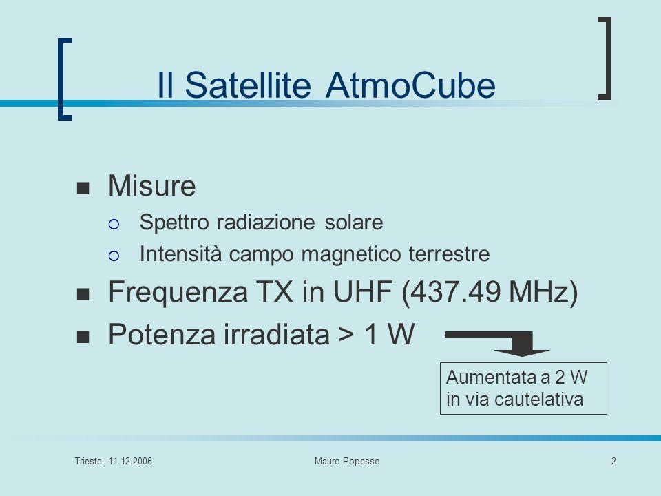Trieste, 11.12.2006Mauro Popesso2 Il Satellite AtmoCube Misure Spettro radiazione solare Intensità campo magnetico terrestre Frequenza TX in UHF (437.