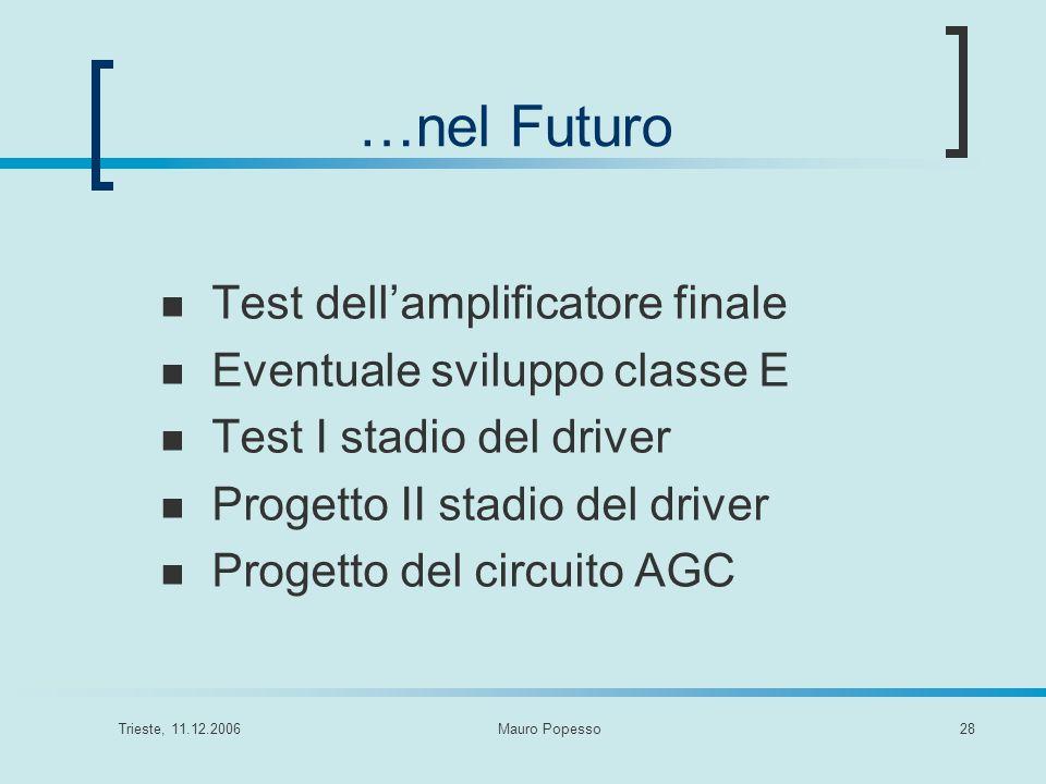 Trieste, 11.12.2006Mauro Popesso28 …nel Futuro Test dellamplificatore finale Eventuale sviluppo classe E Test I stadio del driver Progetto II stadio d