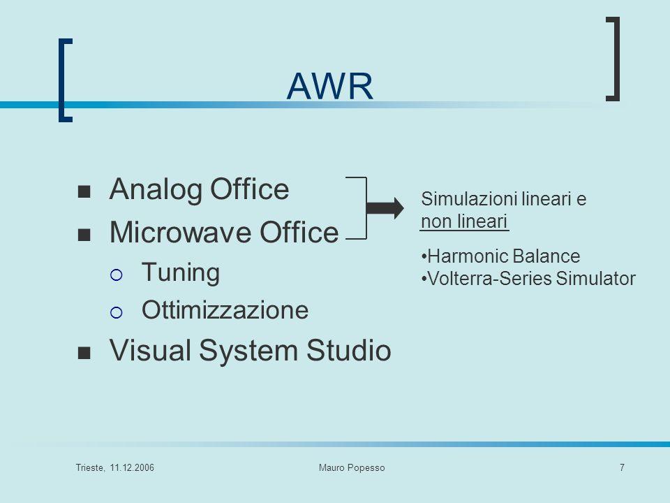 Trieste, 11.12.2006Mauro Popesso7 AWR Analog Office Microwave Office Tuning Ottimizzazione Visual System Studio Simulazioni lineari e non lineari Harm