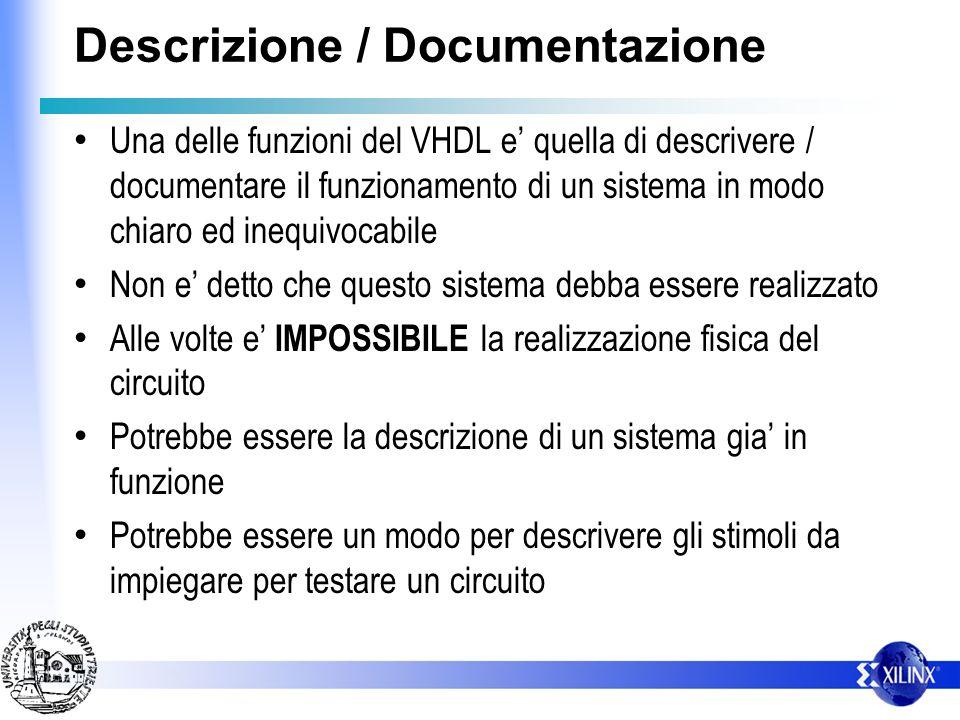 Descrizione / Documentazione Una delle funzioni del VHDL e quella di descrivere / documentare il funzionamento di un sistema in modo chiaro ed inequiv