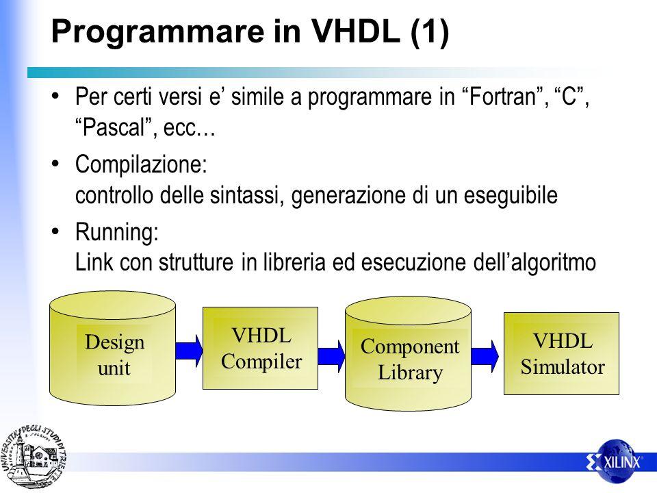 Programmare in VHDL (1) Per certi versi e simile a programmare in Fortran, C, Pascal, ecc… Compilazione: controllo delle sintassi, generazione di un e