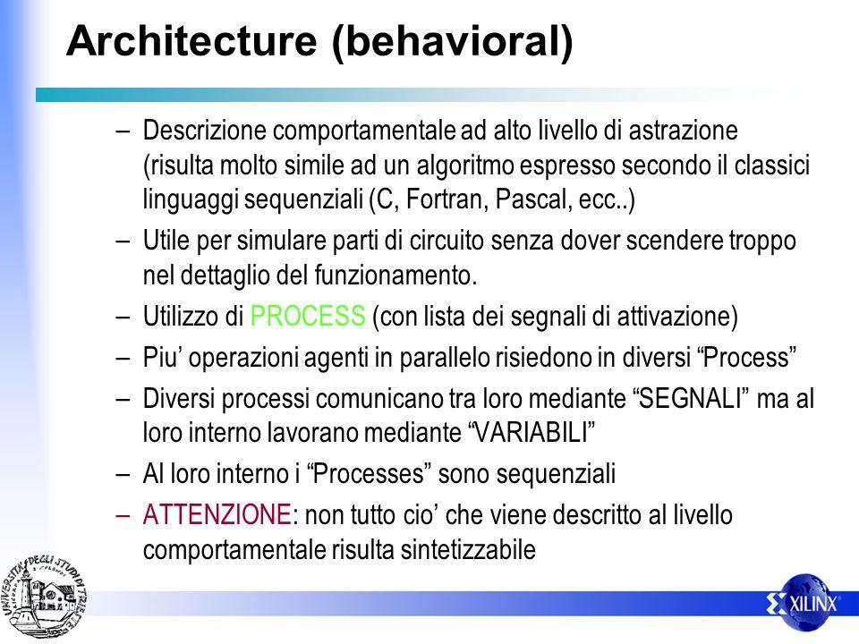 Architecture (behavioral) – Descrizione comportamentale ad alto livello di astrazione (risulta molto simile ad un algoritmo espresso secondo il classi