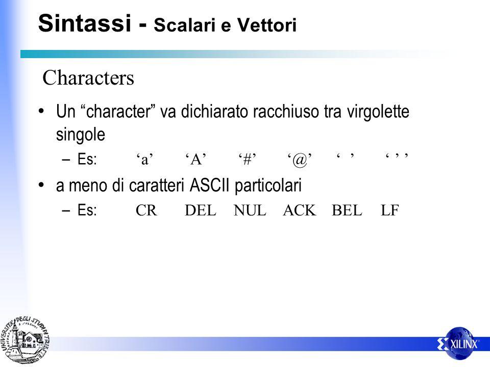 Un character va dichiarato racchiuso tra virgolette singole – Es: aA # @ a meno di caratteri ASCII particolari – Es: CRDELNULACKBELLF Characters