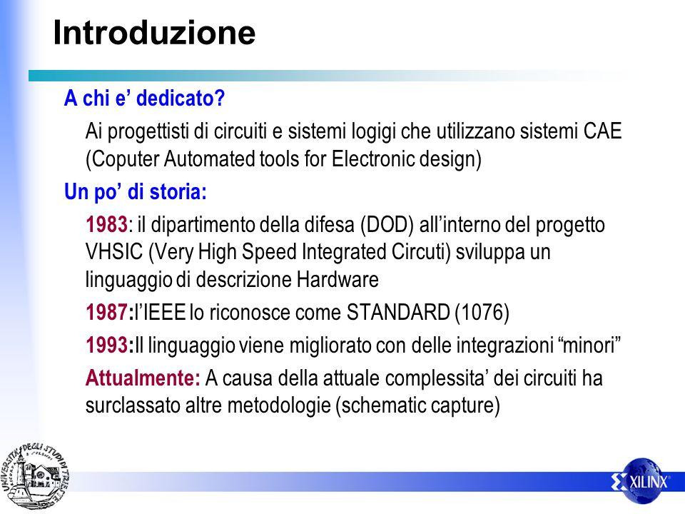 Introduzione A chi e dedicato? Ai progettisti di circuiti e sistemi logigi che utilizzano sistemi CAE (Coputer Automated tools for Electronic design)