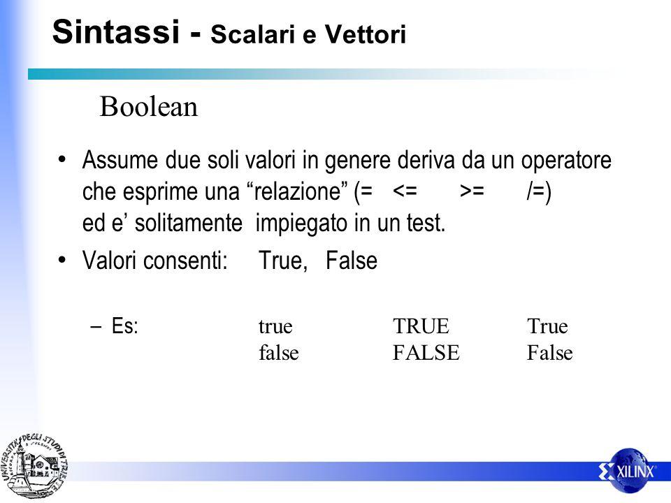 Sintassi - Scalari e Vettori Assume due soli valori in genere deriva da un operatore che esprime una relazione (= =/=) ed e solitamente impiegato in u