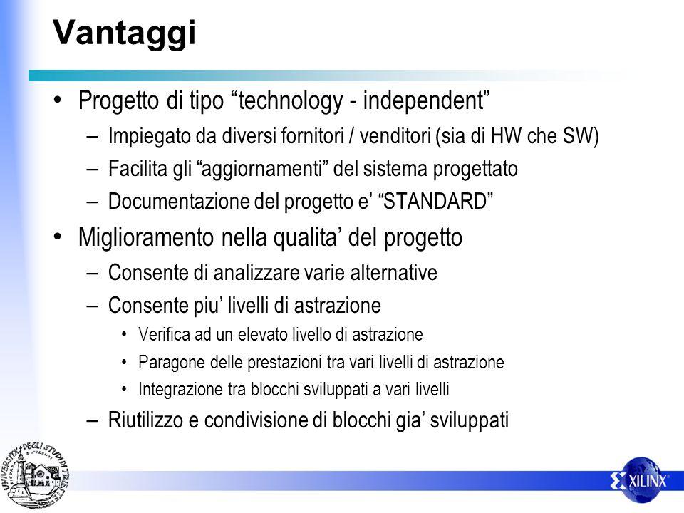 Vantaggi Progetto di tipo technology - independent – Impiegato da diversi fornitori / venditori (sia di HW che SW) – Facilita gli aggiornamenti del si