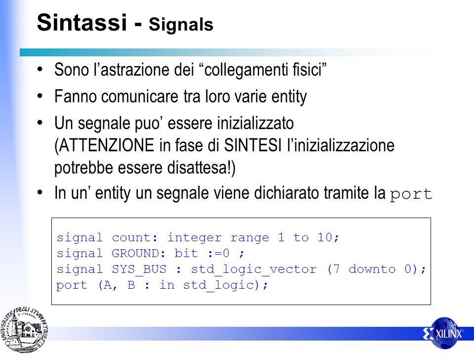 Sintassi - Signals Sono lastrazione dei collegamenti fisici Fanno comunicare tra loro varie entity Un segnale puo essere inizializzato (ATTENZIONE in