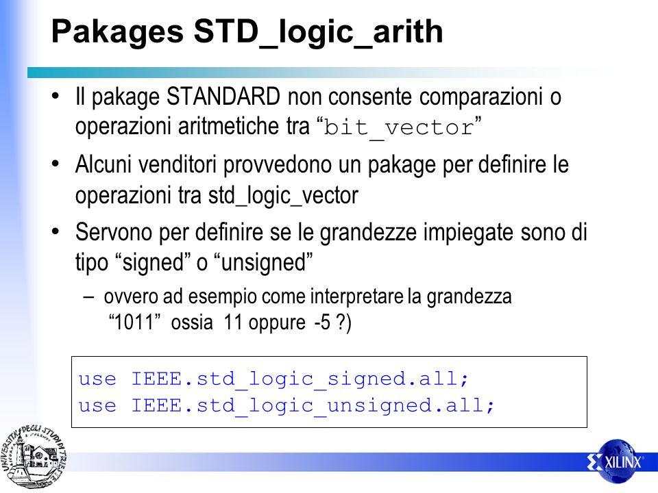 Pakages STD_logic_arith Il pakage STANDARD non consente comparazioni o operazioni aritmetiche tra bit_vector Alcuni venditori provvedono un pakage per