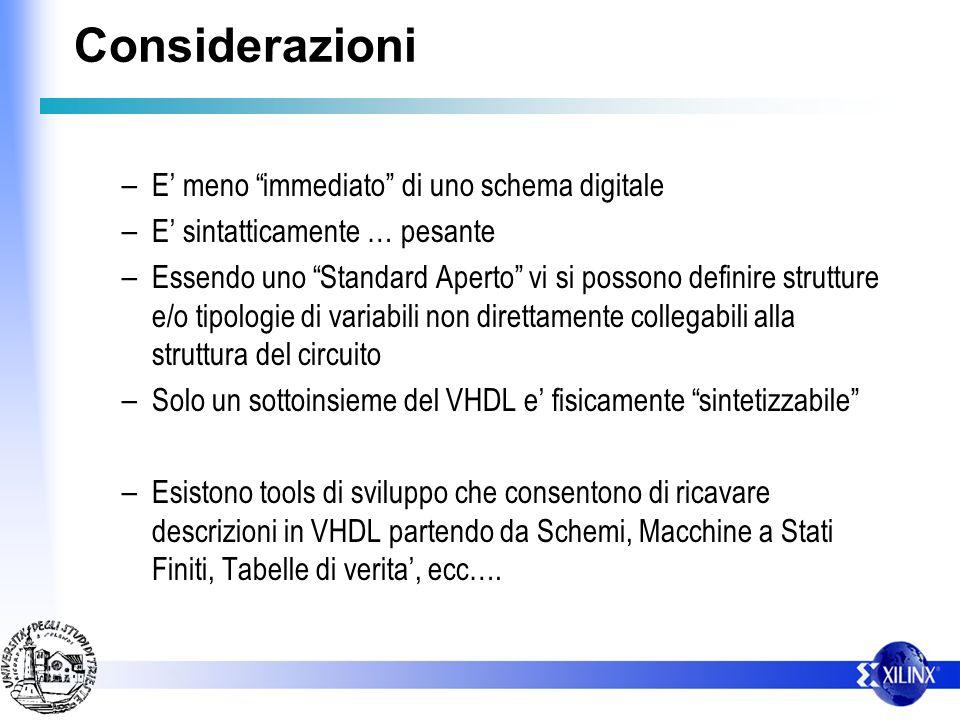 Considerazioni – E meno immediato di uno schema digitale – E sintatticamente … pesante – Essendo uno Standard Aperto vi si possono definire strutture