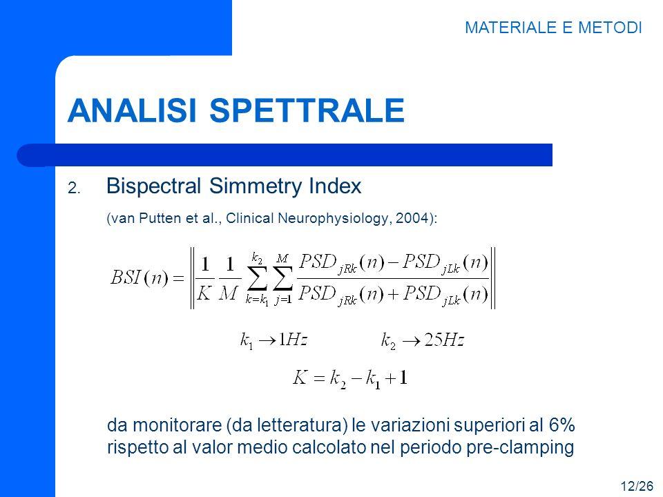 ANALISI SPETTRALE 2. Bispectral Simmetry Index (van Putten et al., Clinical Neurophysiology, 2004): MATERIALE E METODI da monitorare (da letteratura)