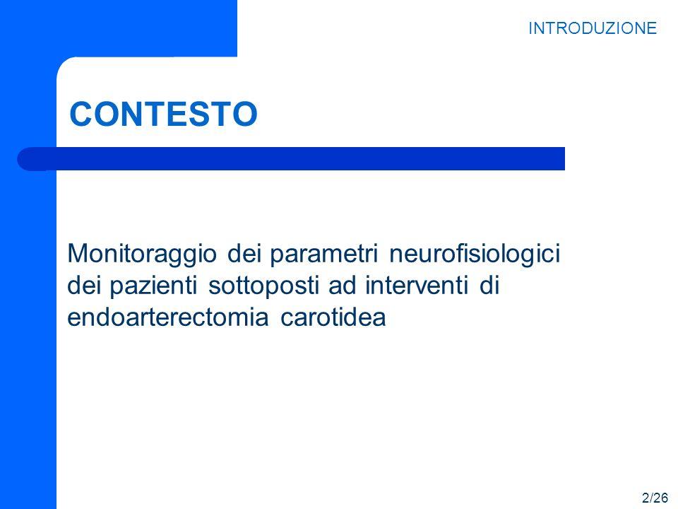 CONTESTO Monitoraggio dei parametri neurofisiologici dei pazienti sottoposti ad interventi di endoarterectomia carotidea INTRODUZIONE 2/26