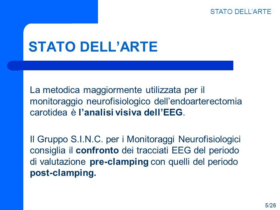 STATO DELLARTE La metodica maggiormente utilizzata per il monitoraggio neurofisiologico dellendoarterectomia carotidea è lanalisi visiva dellEEG. Il G