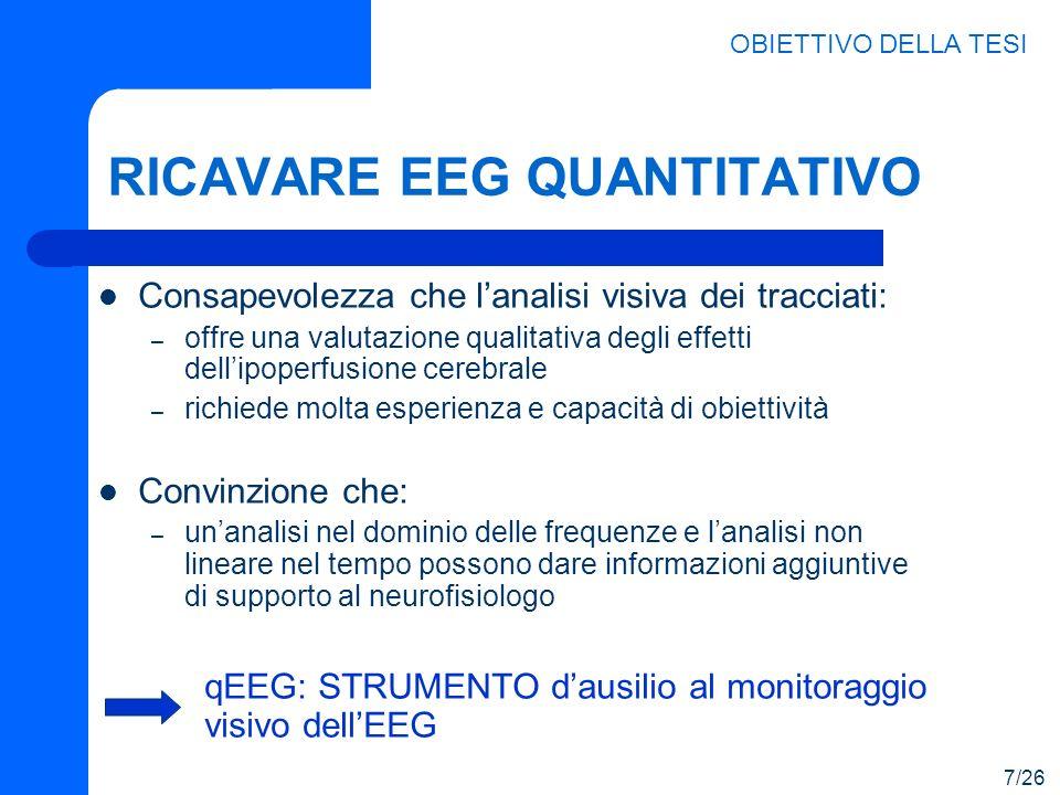 RICAVARE EEG QUANTITATIVO Consapevolezza che lanalisi visiva dei tracciati: – offre una valutazione qualitativa degli effetti dellipoperfusione cerebr