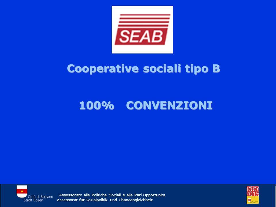 Cooperative sociali tipo B 100% CONVENZIONI Assessorato alle Politiche Sociali e alle Pari Opportunità Assessorat für Sozialpolitik und Chancengleichh