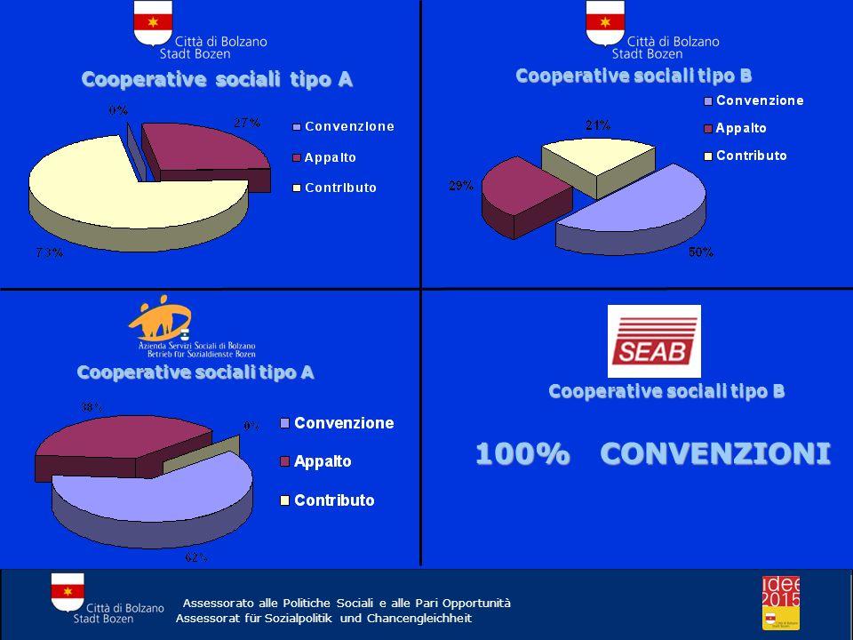 Cooperative sociali tipo A Cooperative sociali tipo B Cooperative sociali tipo A Cooperative sociali tipo B 100% CONVENZIONI Assessorato alle Politich