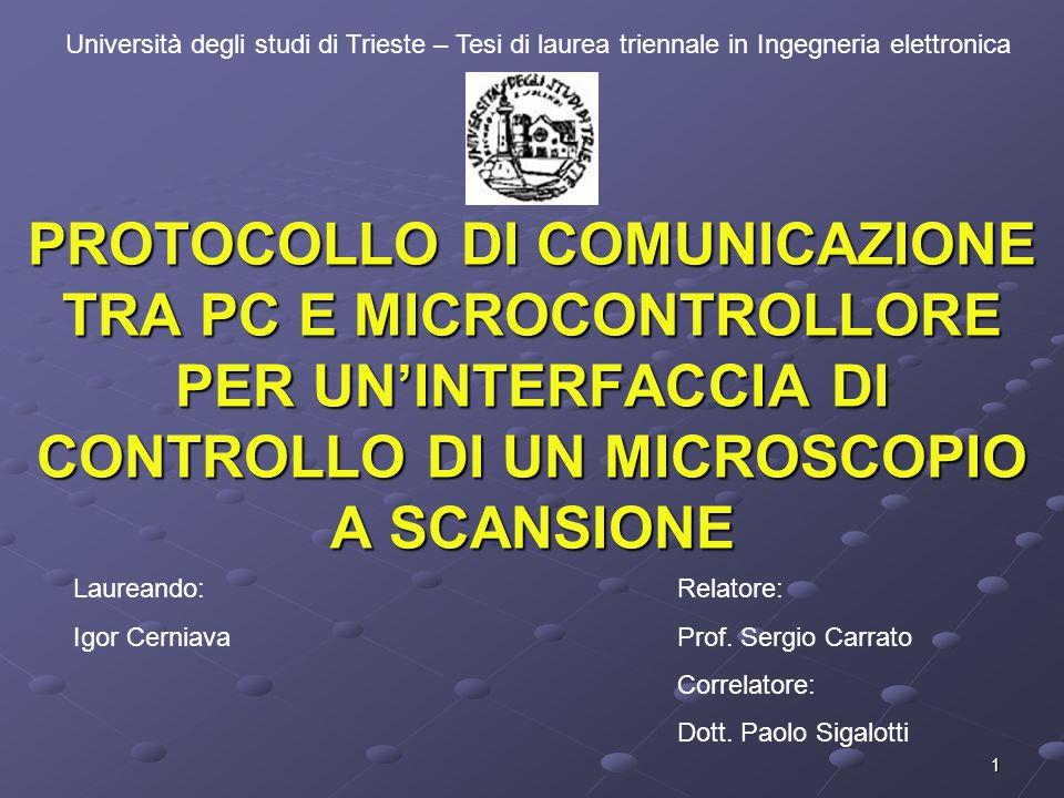 1 PROTOCOLLO DI COMUNICAZIONE TRA PC E MICROCONTROLLORE PER UNINTERFACCIA DI CONTROLLO DI UN MICROSCOPIO A SCANSIONE Università degli studi di Trieste