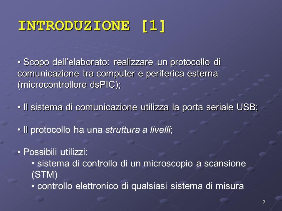 2 INTRODUZIONE [1] Scopo dellelaborato: realizzare un protocollo di comunicazione tra computer e periferica esterna (microcontrollore dsPIC); Scopo de