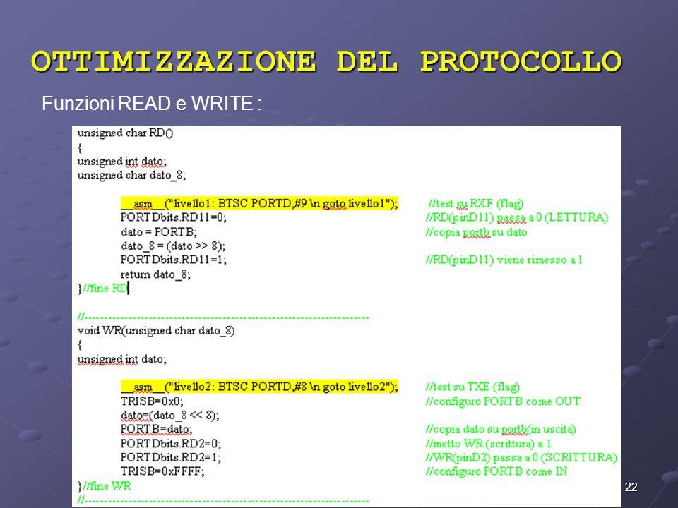 22 OTTIMIZZAZIONE DEL PROTOCOLLO Funzioni READ e WRITE :