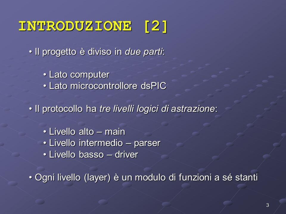 3 Il progetto è diviso in due parti: Il progetto è diviso in due parti: Lato computer Lato computer Lato microcontrollore dsPIC Lato microcontrollore