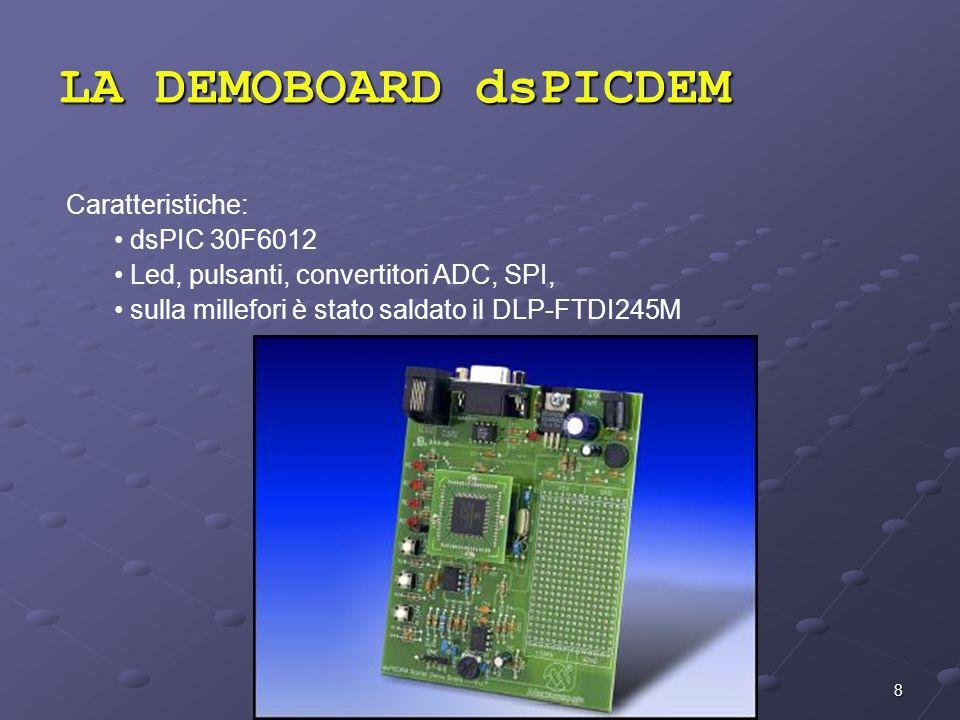 8 Caratteristiche: dsPIC 30F6012 Led, pulsanti, convertitori ADC, SPI, sulla millefori è stato saldato il DLP-FTDI245M LA DEMOBOARD dsPICDEM