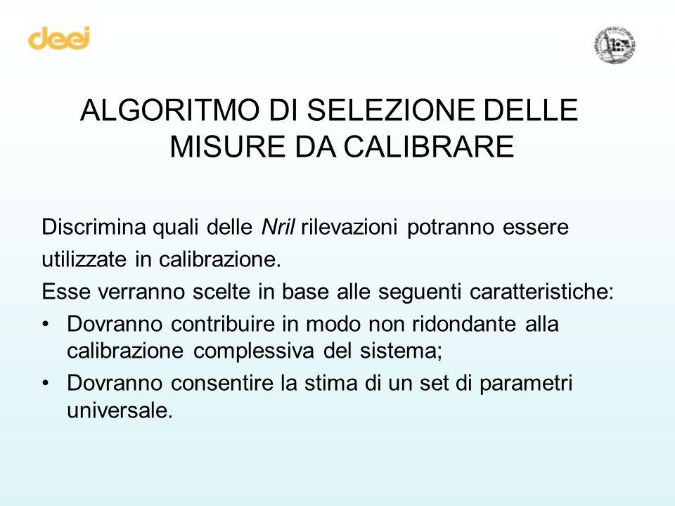 ALGORITMO DI SELEZIONE DELLE MISURE DA CALIBRARE Discrimina quali delle Nril rilevazioni potranno essere utilizzate in calibrazione.
