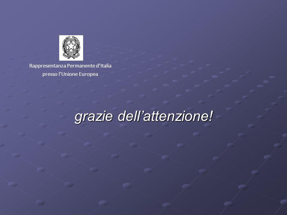 grazie dellattenzione! Rappresentanza Permanente dItalia presso lUnione Europea