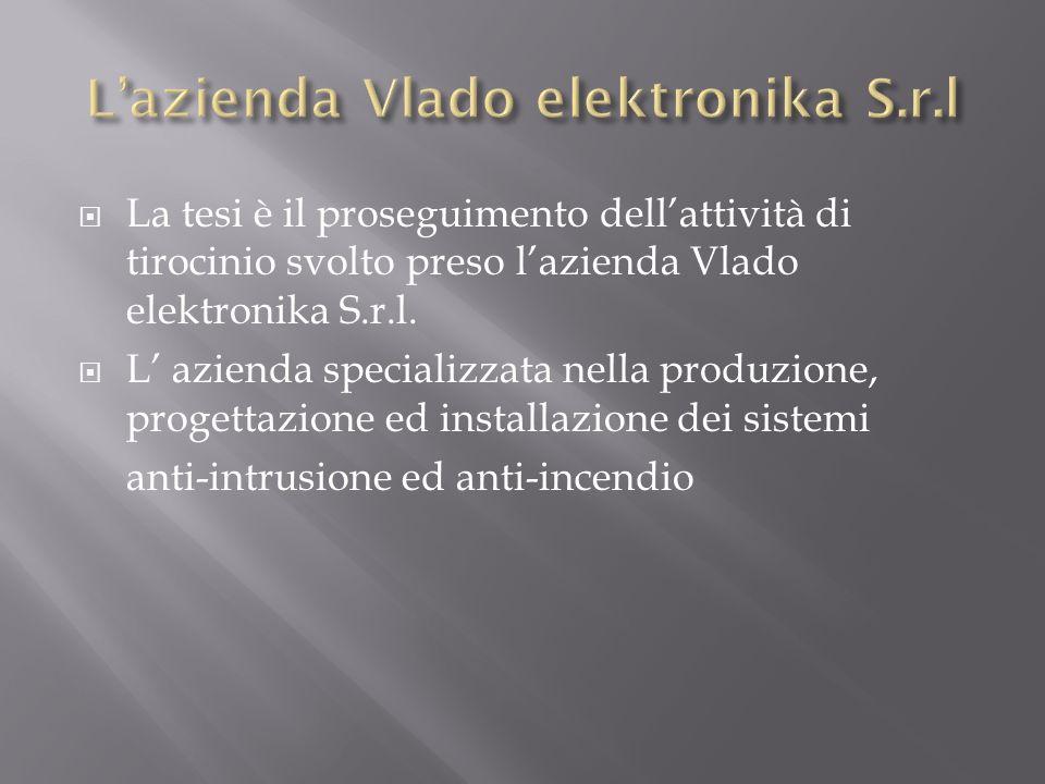 La tesi è il proseguimento dellattività di tirocinio svolto preso lazienda Vlado elektronika S.r.l. L azienda specializzata nella produzione, progetta
