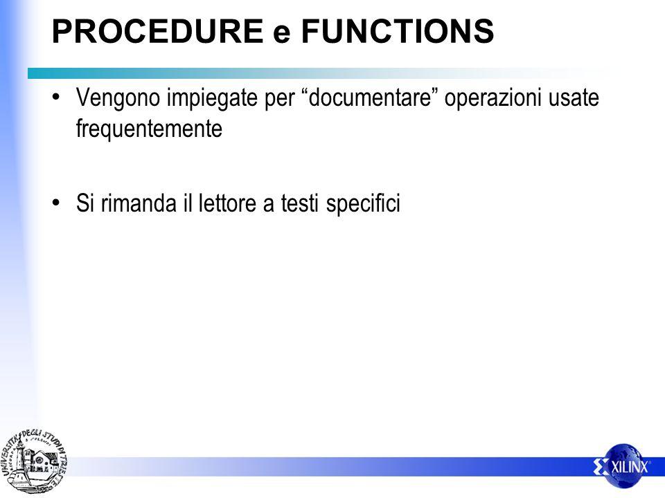 PROCEDURE e FUNCTIONS Vengono impiegate per documentare operazioni usate frequentemente Si rimanda il lettore a testi specifici