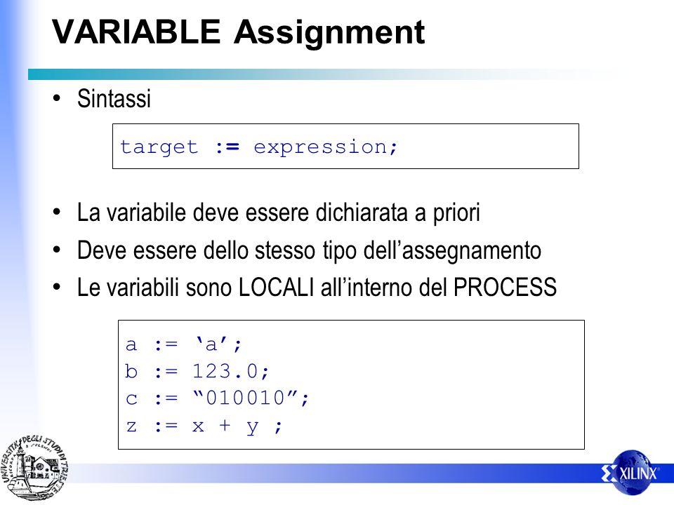 SIGNAL Assignment Sintassi Lassegnazione di un segnale deve essere sincronizzata o tramite un WAIT o con la sensitivity list target <= expression [after delay]; c <= 1 after 1ns; b <= a ; z <= x + y ;