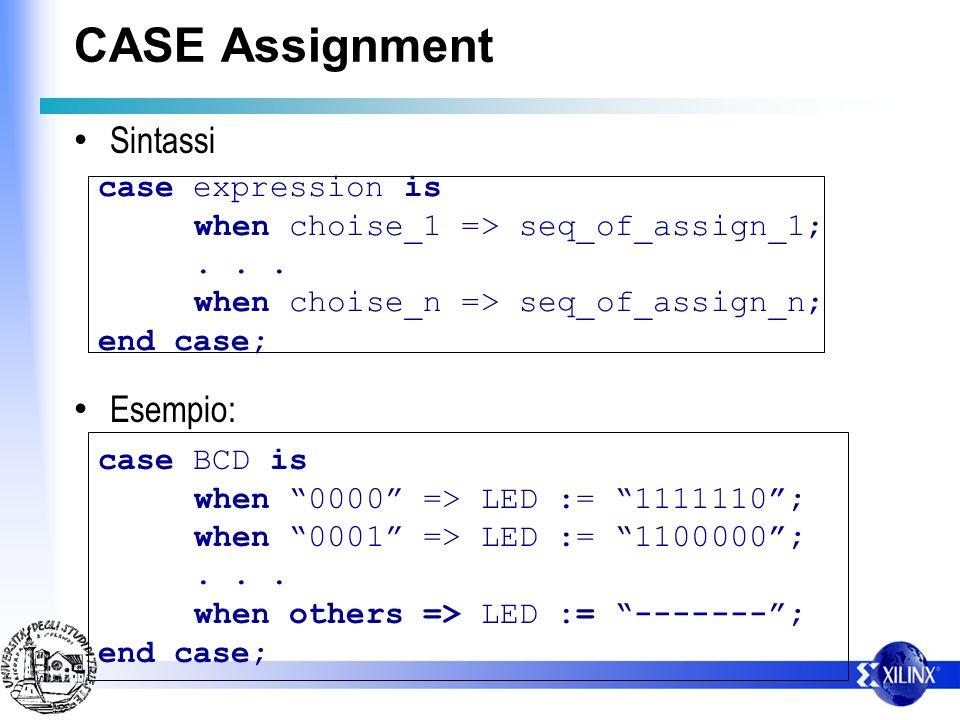 CASE Assignment Casi particolari Certi sistemi richiedono esplicito il when others.