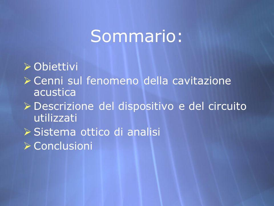 Sommario: Obiettivi Cenni sul fenomeno della cavitazione acustica Descrizione del dispositivo e del circuito utilizzati Sistema ottico di analisi Conc